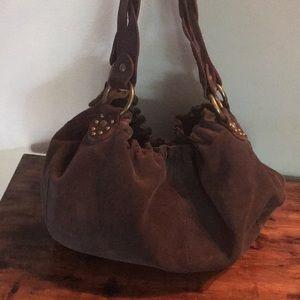 Lucky Brand dark brown suede Hobo bag